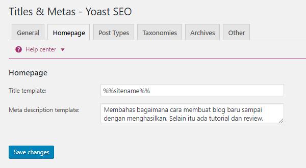 Perlengkapan Blog SEO Yoast Homepage