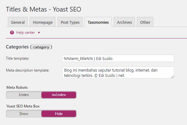 Perlengkapan Blog SEO Yoast Taxonomies