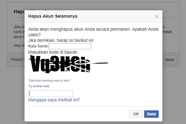 Cara Menghapus Akun Facebook Permanen Password